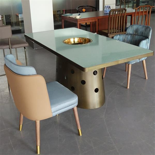 椰子鸡火锅6人位不锈钢大理石长条火锅桌