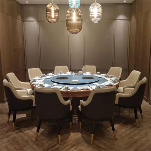 酒店会所12人、16座大圆火锅桌大理石面带转盘