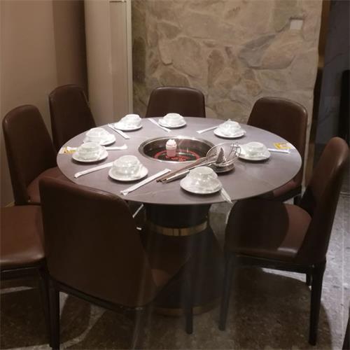 潮汕牛肉火锅包厢高档大理石火锅桌