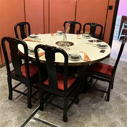 包房大理石8人位轻奢火锅圆桌