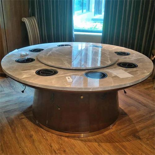 包房8人位大理石一人一锅电磁炉火锅桌子