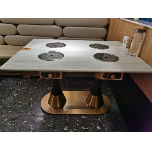 四人小电磁炉火锅桌_大理石每人每锅火锅桌