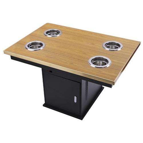 四人小电磁炉无烟火锅桌_小火锅桌子带电磁炉一体
