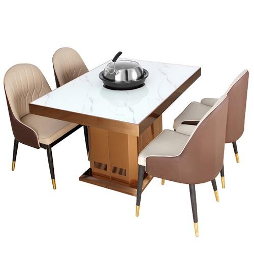 自助海鲜餐厅海鲜蒸汽火锅一体桌_大理石海鲜蒸汽火锅餐桌