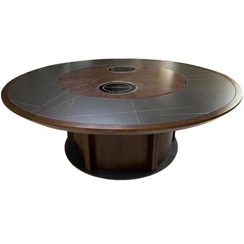 15人16人实木封边岩板台面转盘带电磁炉电动火锅桌