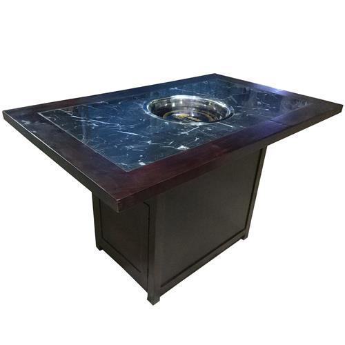 实木边框镶嵌大理石下沉式电磁炉火锅桌