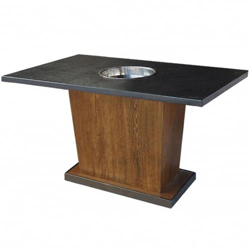 实木柜式桌脚大理石台面火锅桌
