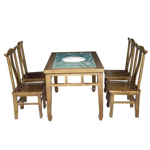 中式仿古实木边框大理石火锅桌