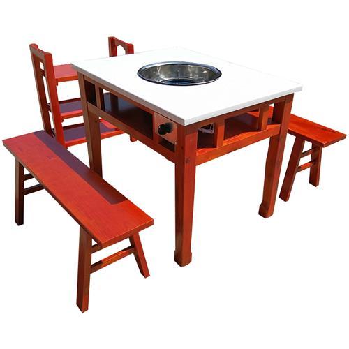 小郡肝串串香火锅桌 实木仿古雕花大理石火锅桌