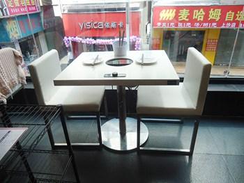 白色人造大理石火锅桌 电磁炉火锅桌-火锅餐桌厂家批发定做