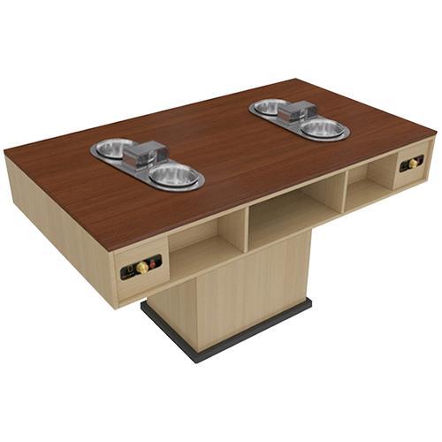 带排烟火锅桌一人一锅木作带抽屉火锅桌