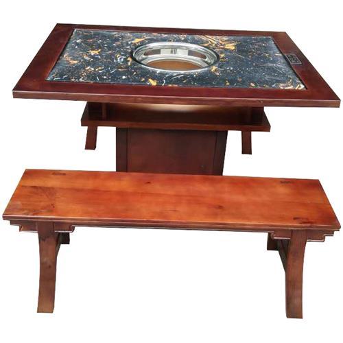 厂家直销复古大理石实木火锅桌子燃气灶电磁炉柜式火锅桌椅