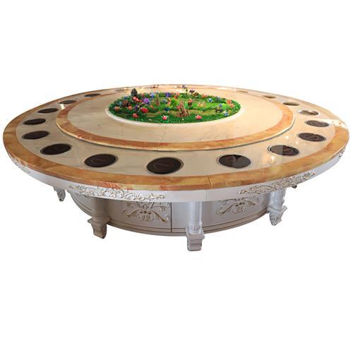 高端黑色围边大理石火锅桌_实木餐桌脚电动火锅餐桌