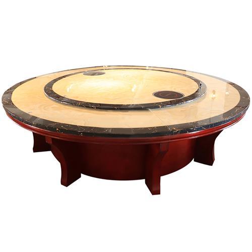 豪华黑色围边大理石电动火锅餐桌_实木餐桌脚火锅餐桌