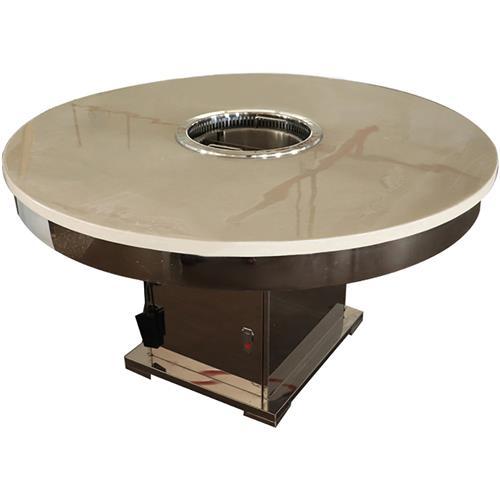 大理石圆形电磁炉火锅桌_不锈钢方桶脚一体无烟火锅桌
