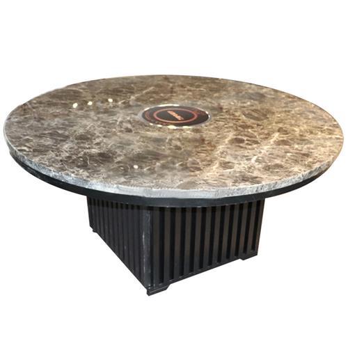 大理石圆形电磁炉火锅桌_不锈钢方桶脚无烟火锅桌