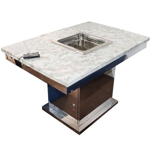 白色大理石无烟升降火锅一体桌 亮光不锈钢方形底座
