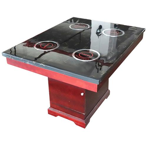 四人位一人一锅大理石火锅桌 红色木脚方桶电磁炉火锅桌
