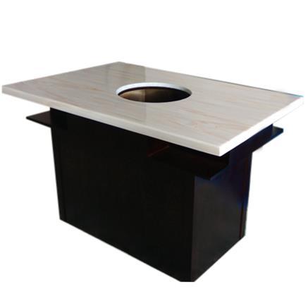 大理石桌面实木桌脚电磁炉火锅桌