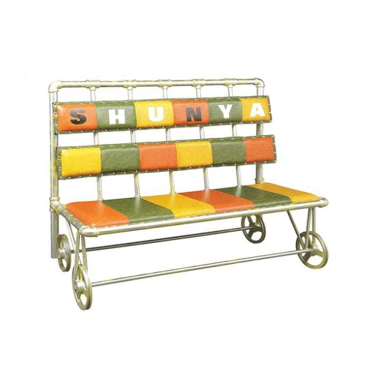 美式铁艺水管软包桌垫卡座沙发