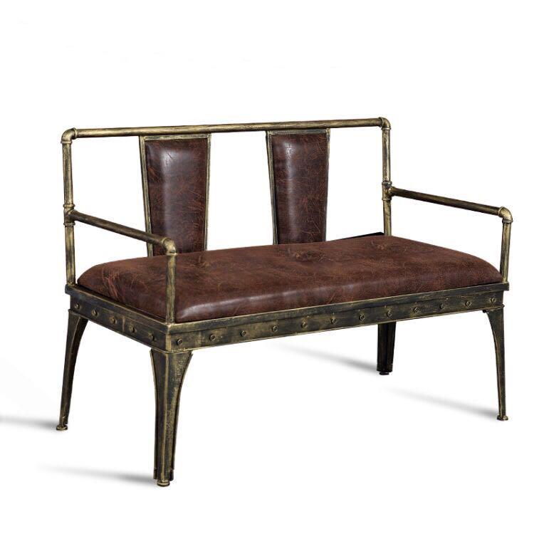 复古铁脚水管边框软包桌垫卡座