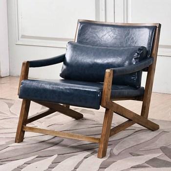 北欧风格单人沙发椅_实木框架海绵软包实木沙发定做厂家