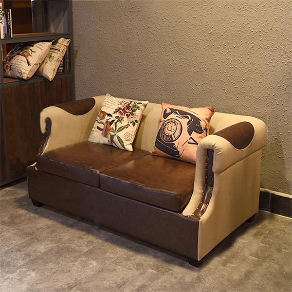 复古咖啡厅沙发 皮艺茶餐厅沙发 布艺西餐厅沙发拼色酒吧沙发卡座