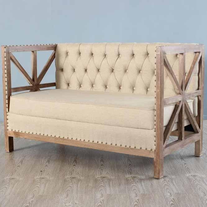 欧式复古做旧实木布艺沙发 美式卡座酒吧咖啡馆沙发