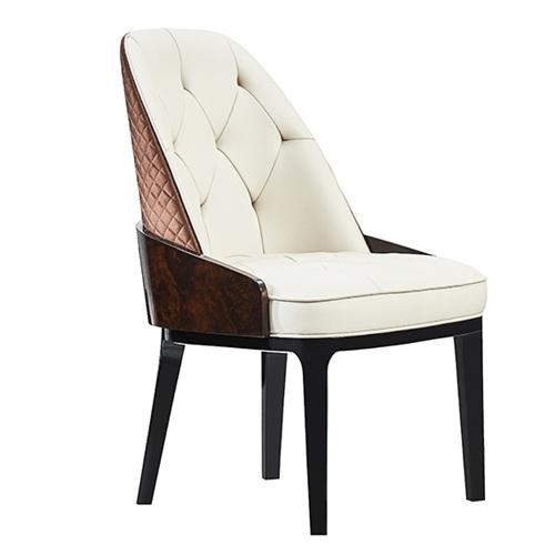 北欧轻奢皮革软包实木会所靠背椅子