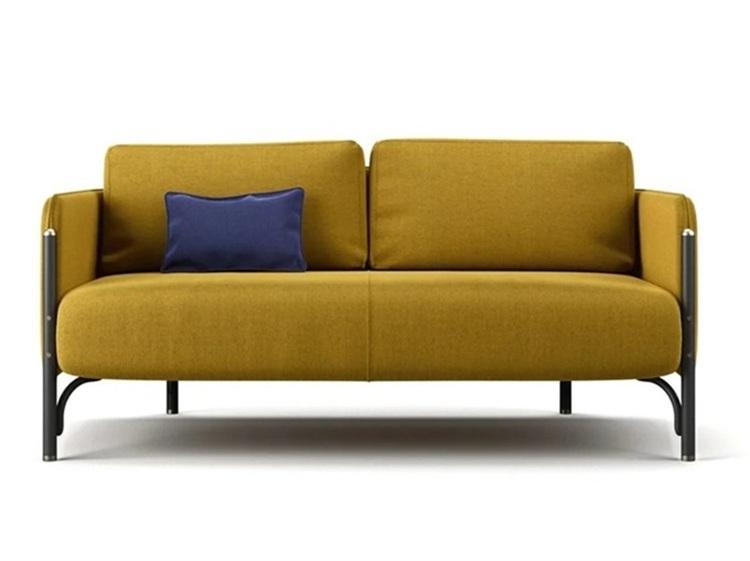 休闲会所现代简约北欧科技布双人位沙发