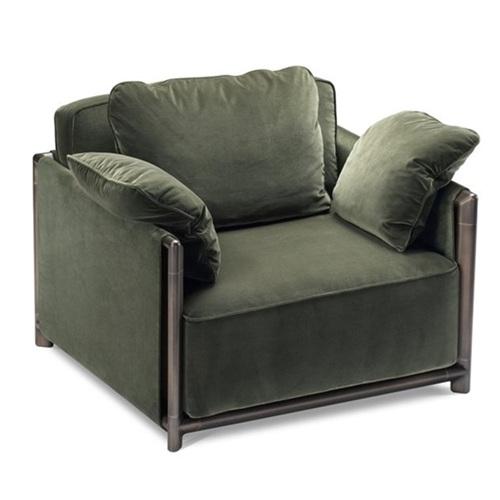 高档会所北欧现代简约免绒皮单人沙发