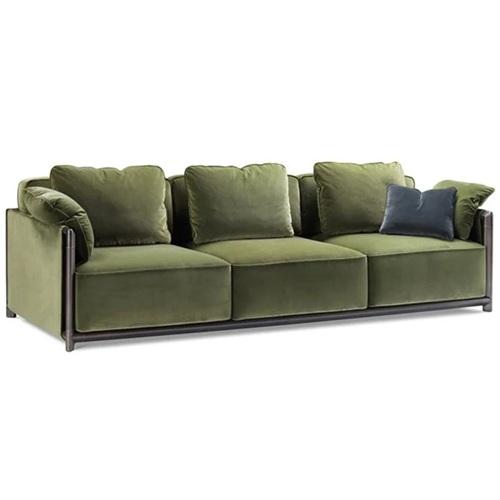 私人会所意式不锈钢简约直排三人位沙发