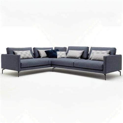 会所意式休闲转角棉麻布艺软包沙发家具