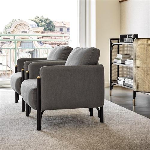 酒店会所北欧实木休闲布艺软包单人沙发家具