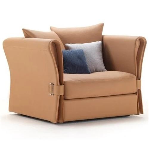 酒店会所客房意式简约轻奢皮质沙发家具