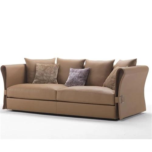 现代会所大厅意式简约皮艺三人位沙发家具