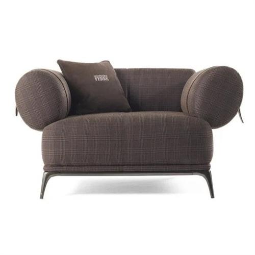休闲会所时尚简约不锈钢布艺软包沙发