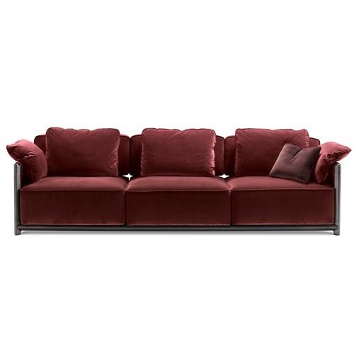 高级会所不锈钢羽绒沙发棉麻科技布沙发