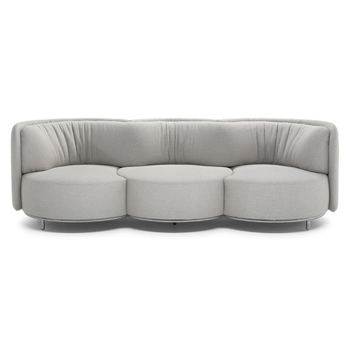 高级会所意式创意简约不锈钢绒皮沙发