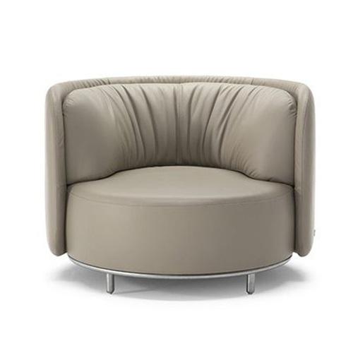 休闲会所意式轻奢皮革弧人单人沙发椅