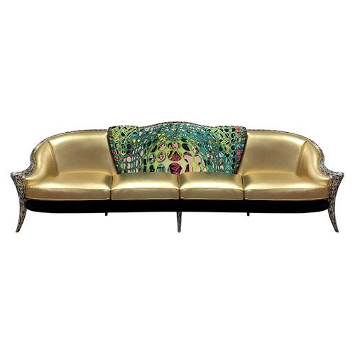 高档会所古典皮革实木意式极简沙发