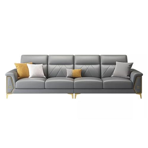 豪华会所轻奢皮革软包可调节靠背意式沙发