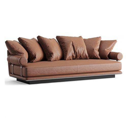 高端会所大堂皮革轻奢意式沙发