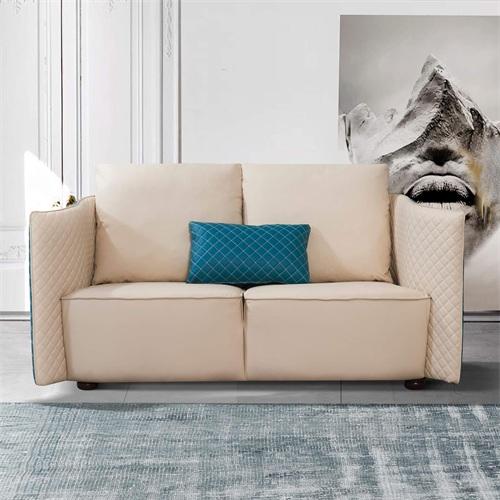 私人会所现代轻奢客厅皮革软包意式经典沙发