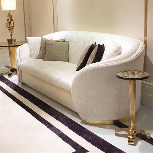 水疗会所包房轻奢后现代意式布艺弧形沙发
