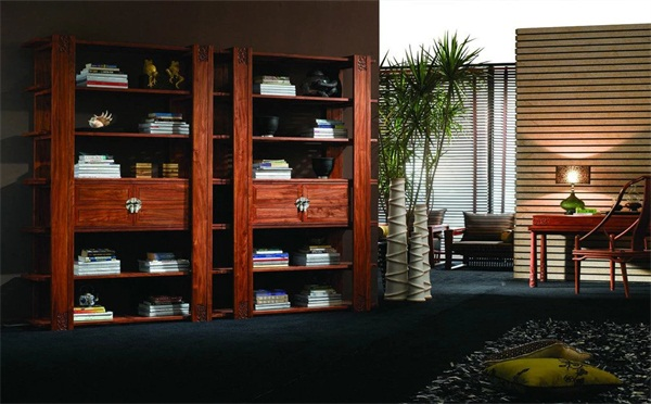 别墅豪宅新中式书架会所家具