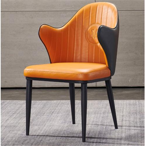 咖啡馆皮革软包轻奢实木靠背椅