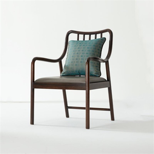 高级会所家具新中式实木扶手椅子