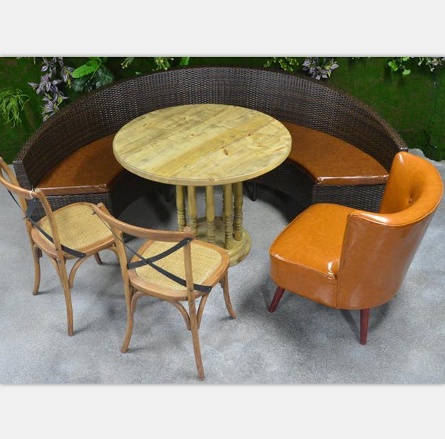 西餐厅_咖啡厅_奶茶店藤制弧形卡座沙发