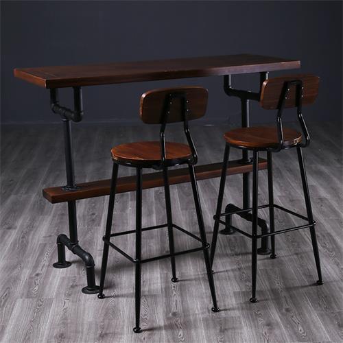 中式复古酒吧实木铁艺酒吧桌家具